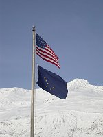 #alaska-flag-5836 - US and Alaska flags flying at Valdez, Alaska